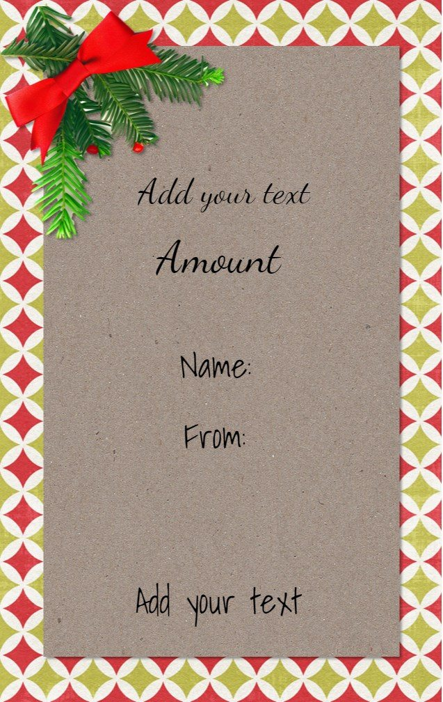 Free christmas gift certificate template customize for Downloadable gift certificate templates