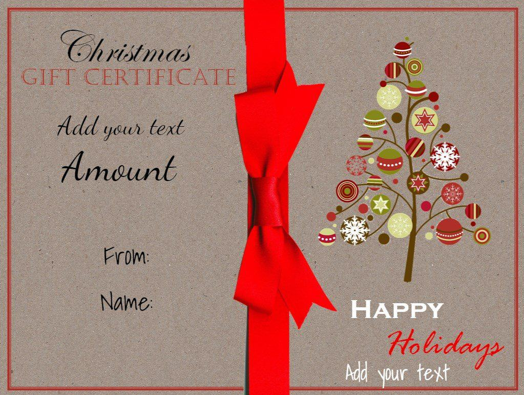 Free christmas gift certificate template customize online download christmas printable with a drawing of a christmas tree and a red ribbon xflitez Images