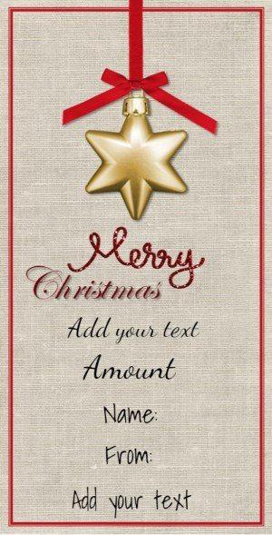 Hanging star on Christmas card