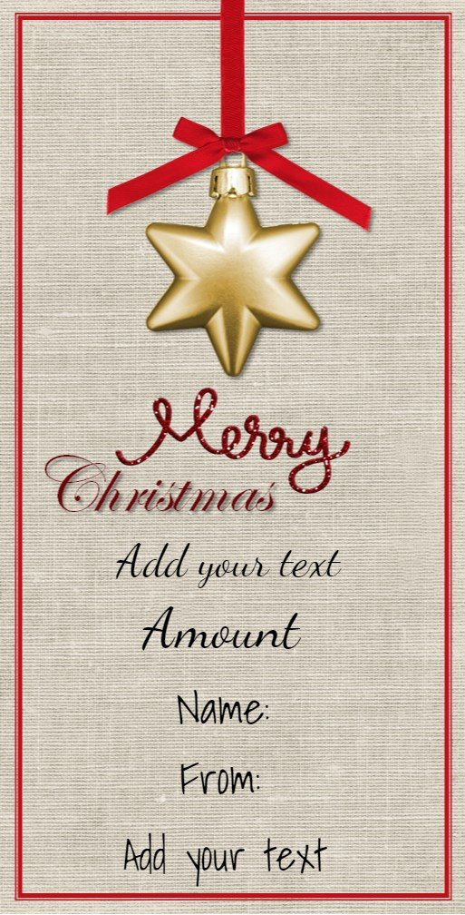 Free christmas gift certificate template customize online download hanging star on christmas card yelopaper Images
