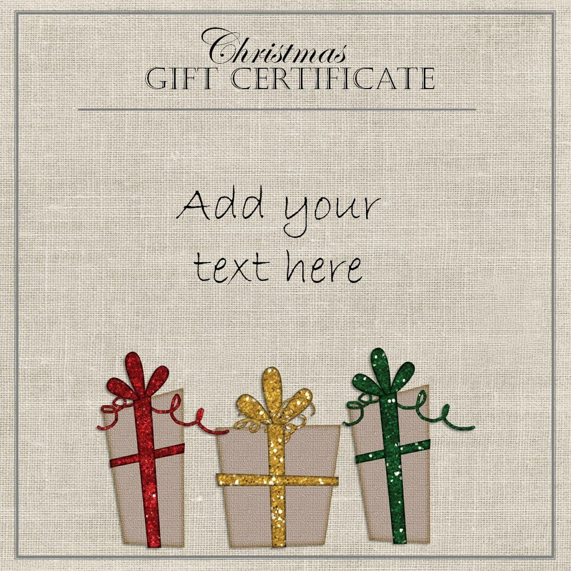 Free christmas gift certificate template customize online download elegant gift certificate template with three gifts with red yellow and green ribbons yelopaper Choice Image