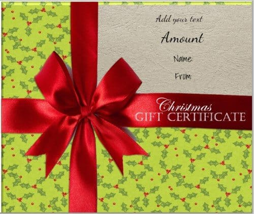 gift shaped gift certificate with green wrapping paper and little pictures of holly and a red ribbon