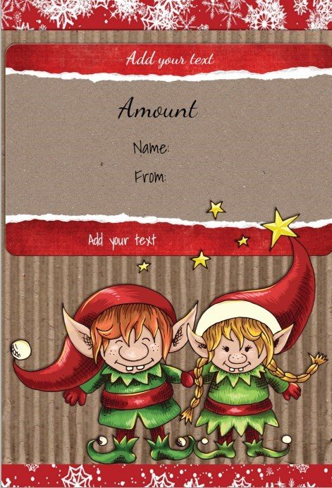 Free Printable Gift Certificate Template With Two Cute Elves  Printable Christmas Gift Certificates Templates Free