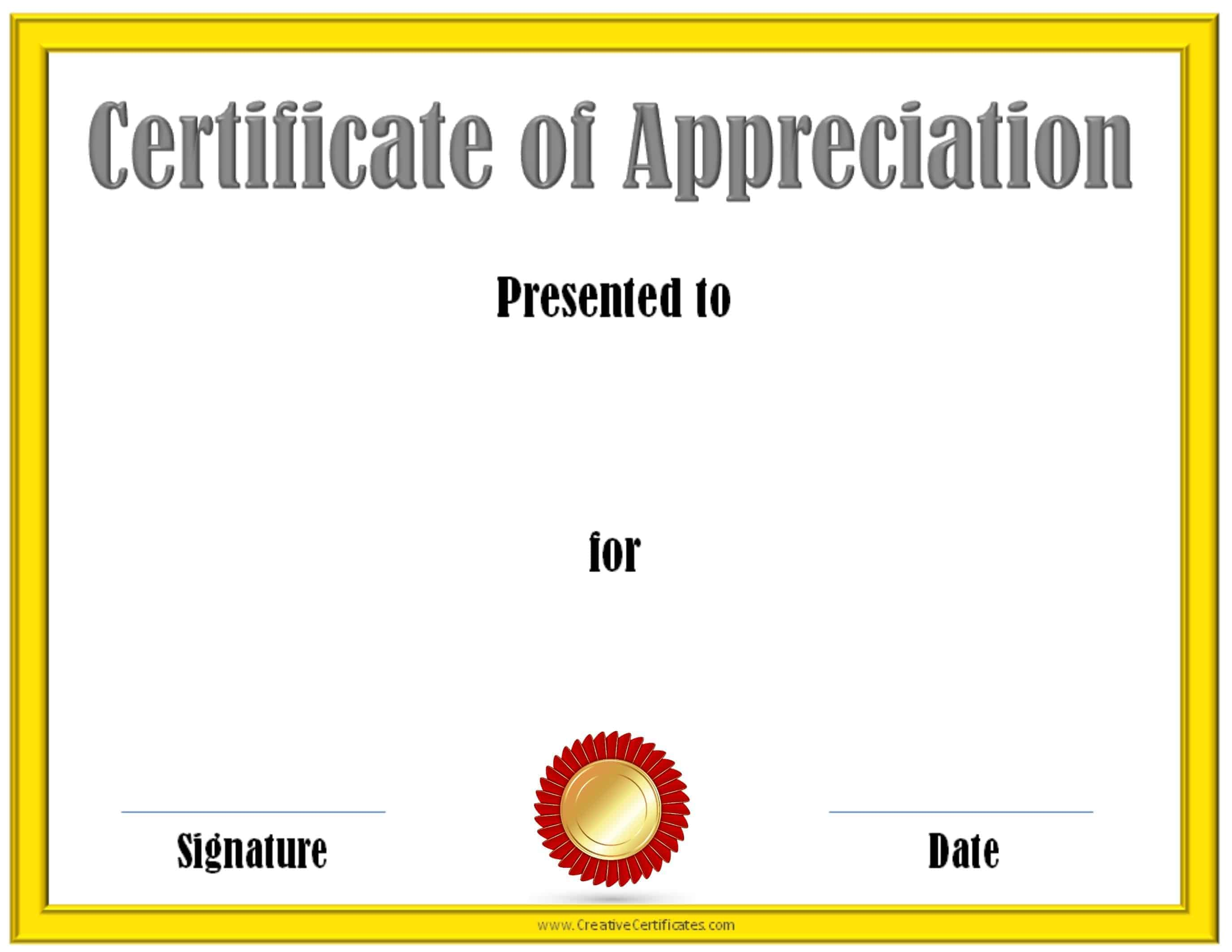 Free editable certificate of appreciation customize for Certificate of appreciation template free