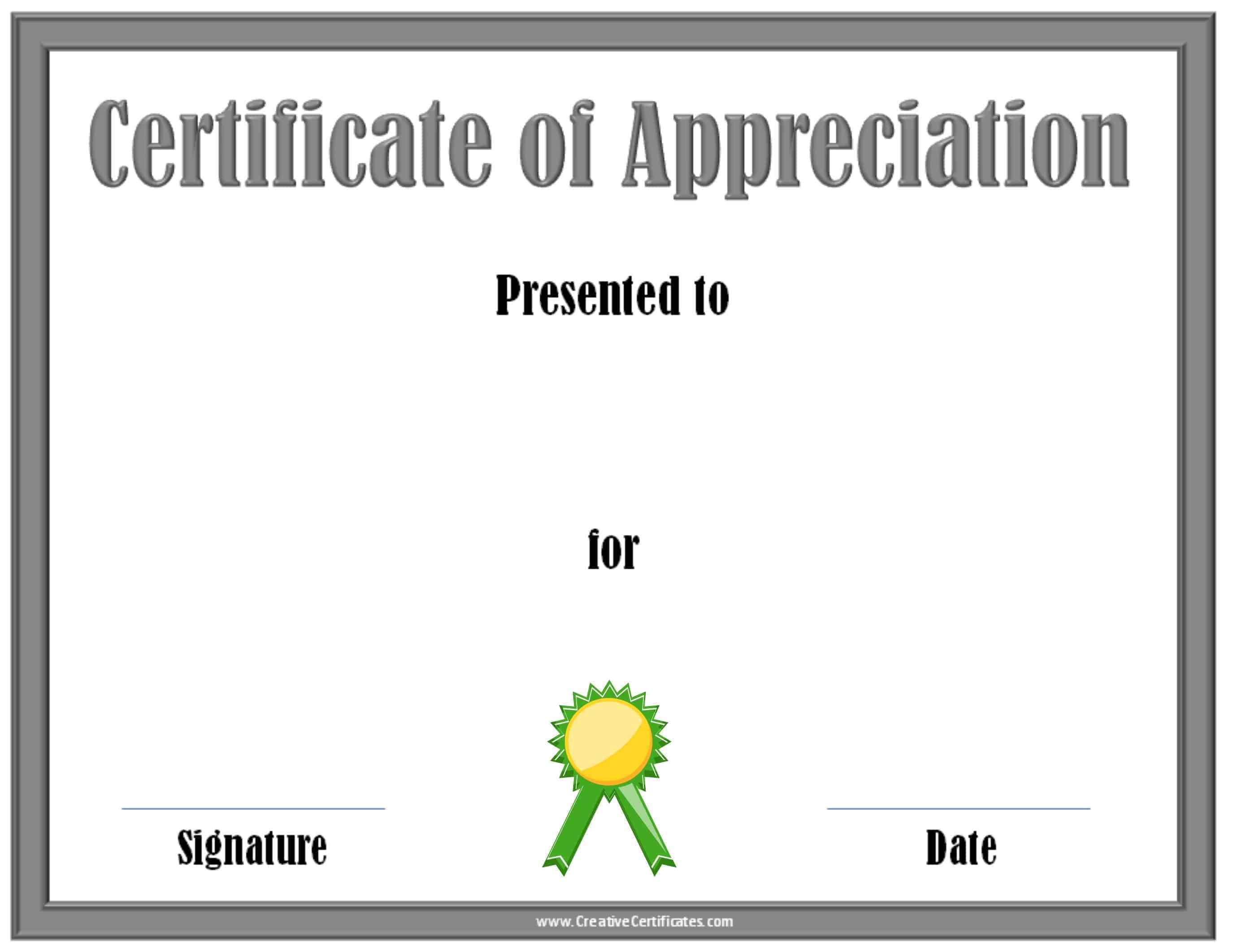 Certificate of appreciation template printable award with a silver border and a green award ribbon xflitez Images