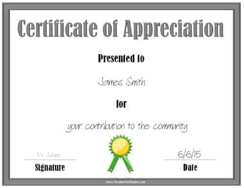 Printable award with a silver border and a green award ribbon
