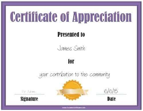 Printable appreciation certificate with a purple border and a gold award ribbon
