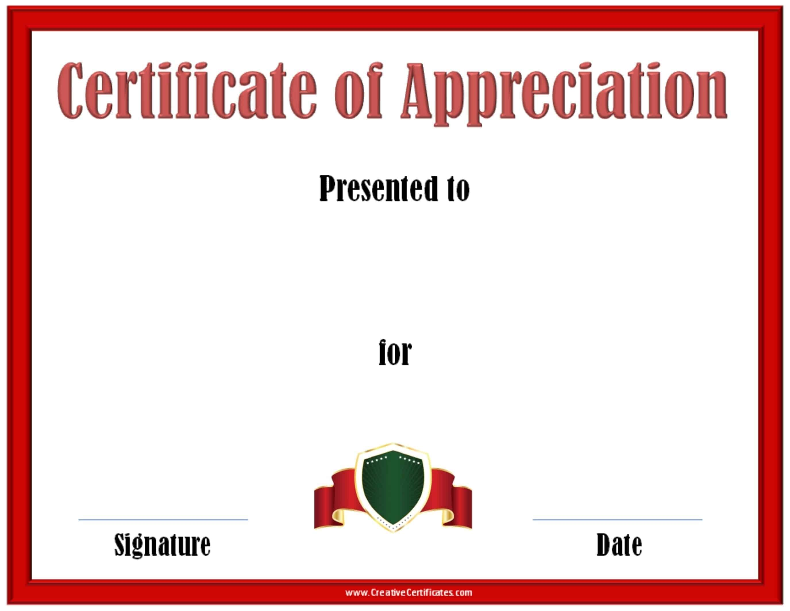 Certificate of appreciation template printable award certificate with a red border and a red ribbon yelopaper Image collections