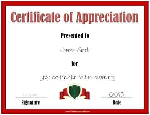 Printable award certificate with a red border and a red ribbon