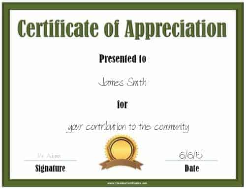 Printable green certificate template with a gold and brown award ribbon