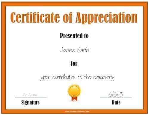 Printable orange award template with a gold and orange award ribbon