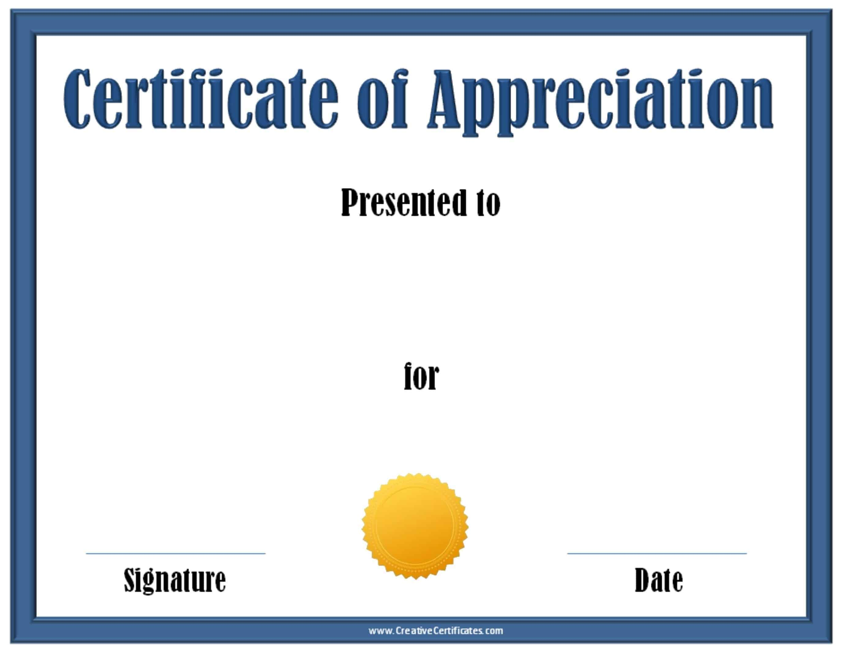 Blue Certificate Of Appreciation Template With A Gold Award Ribbon  Certificate Of Appreciation Template For Word