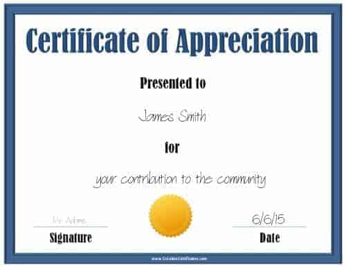 Blue certificate of appreciation template with a gold award ribbon