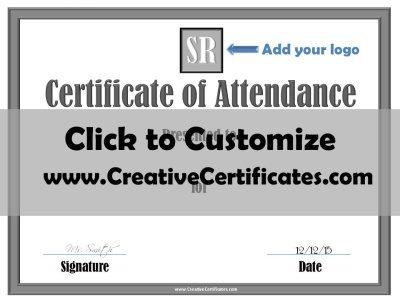 Attendance Certificate Template ...  Blank Certificate Of Attendance