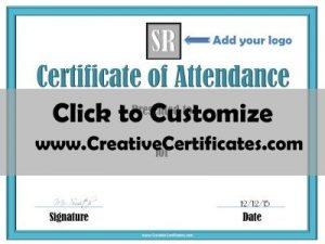 Free attendance certificate template