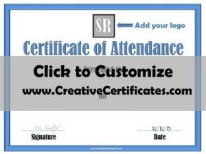 Attendance certificate printable