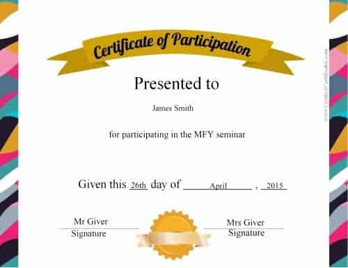 High Quality Certificate With Colorful Border To Design Of Certificate Of Participation