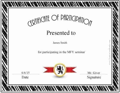 Award For Participants For Black Border  Certificate Of Participation Free Template