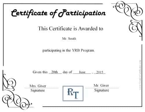Free certificate of participation customize online print participation certificate with a comapny logo yadclub Choice Image