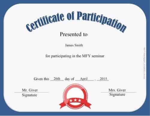 Participation Award  Free Certificate Of Participation Template