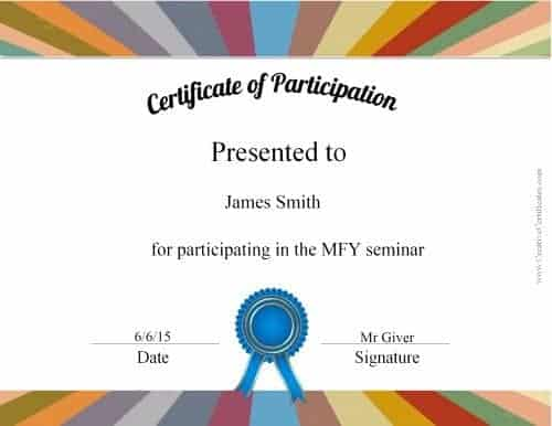 certificates of participation - many designs available - this one has a white background with a colored border