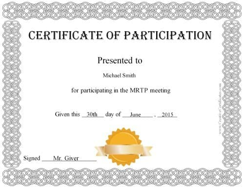 free templates for certificates of participation - free certificate of participation customize online print