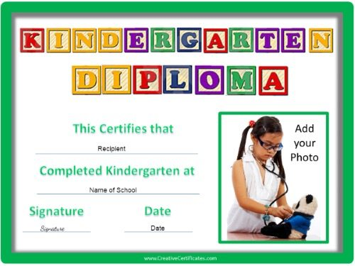 Childrens certificates free and customizable instant download kindergarten graduation certificate yadclub Image collections