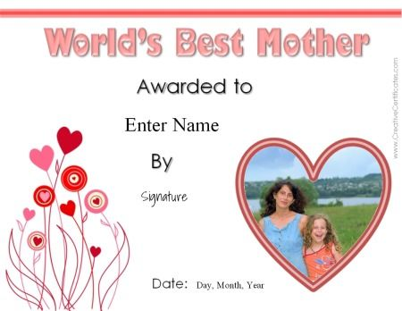 mother's day certificate