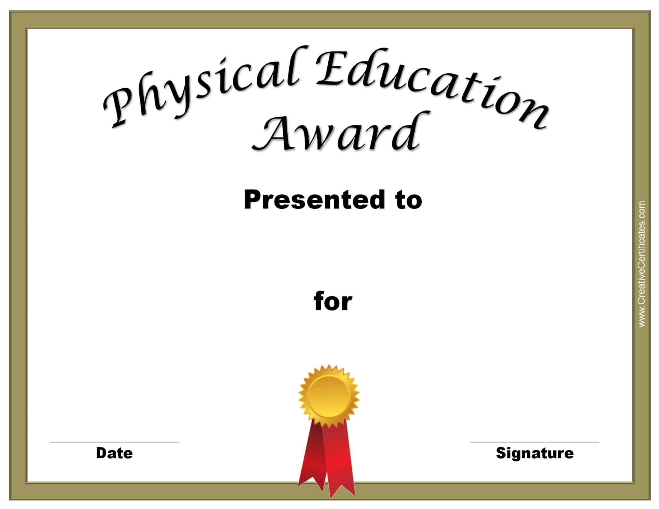 Physical education awards and certificates free pe award xflitez Choice Image