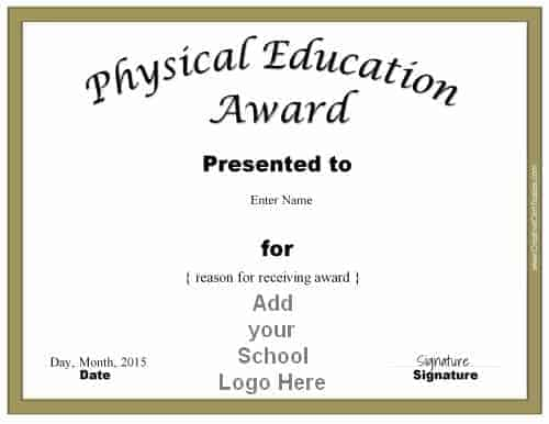 sport award with school logo