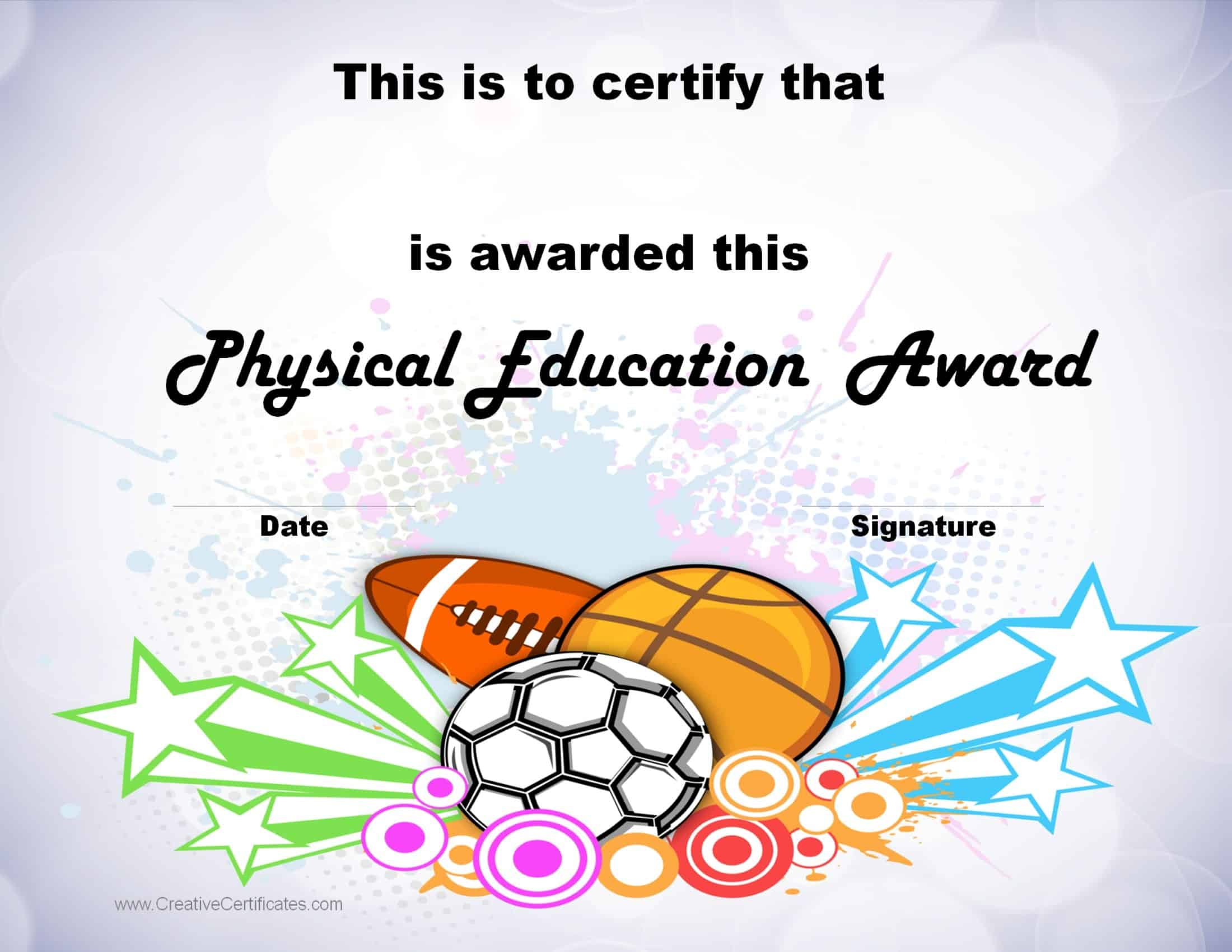 pe certificate  Physical Education Awards and Certificates - Free
