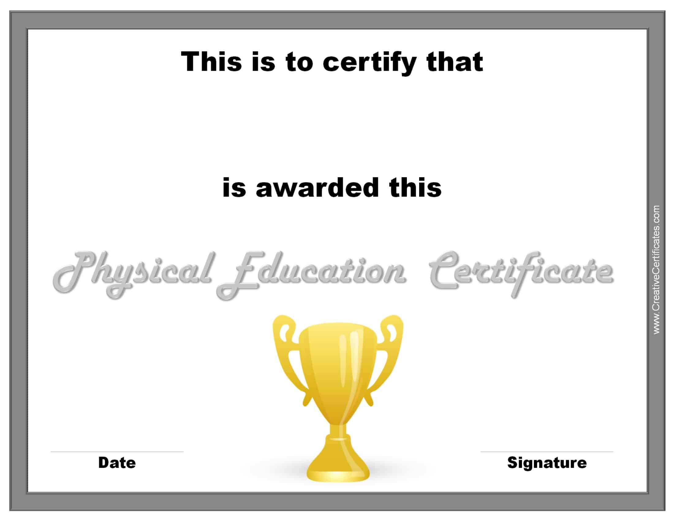 Physical education awards and certificates free pe certificate xflitez Image collections