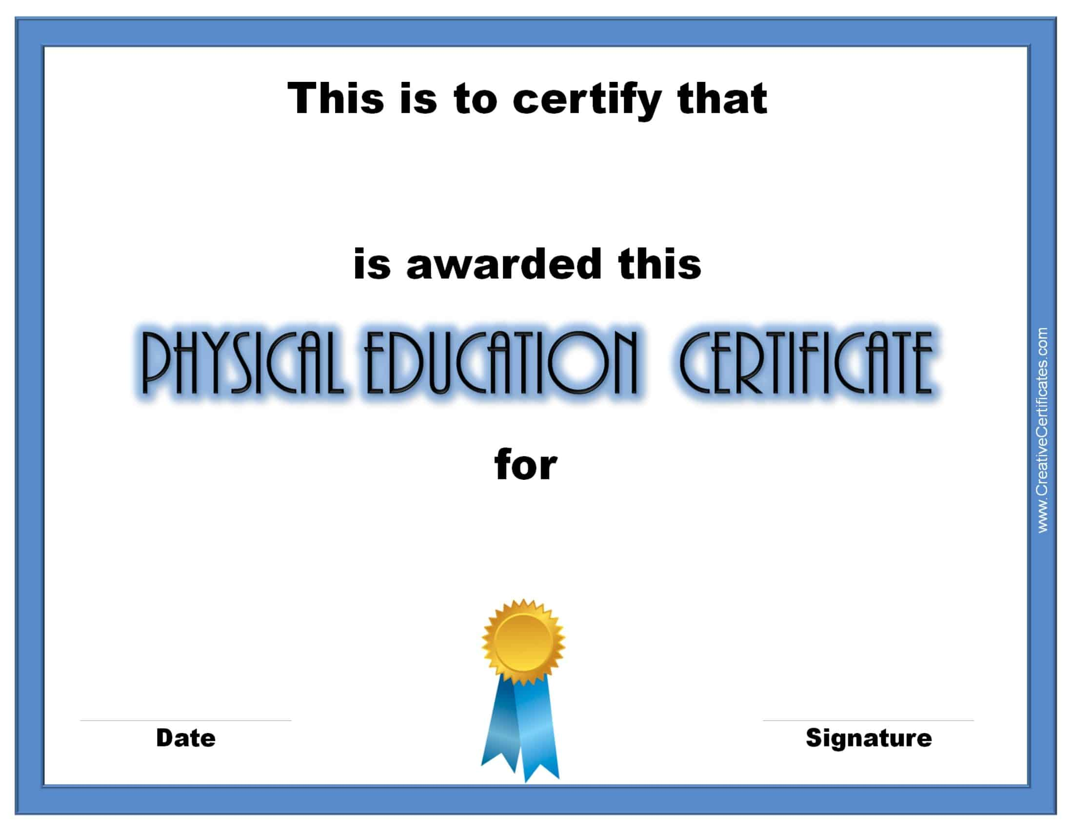 Physical education awards and certificates free customize print 1betcityfo Images