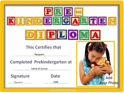 Certificates for kids free and customizable instant for Pre k award certificate templates
