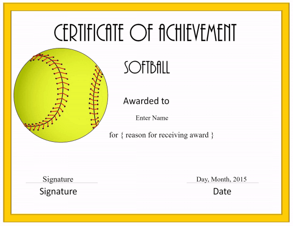 Free softball certificate templates customize online softball printable little league printable award softball certificate templates yadclub Images