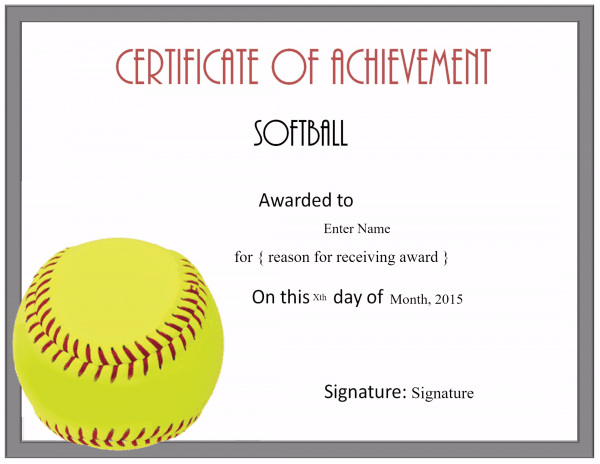 softball awards certificates  Free Softball Certificate Templates - Customize Online