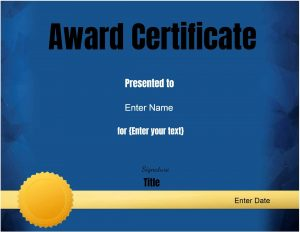 Blue background with a gold award ribbon