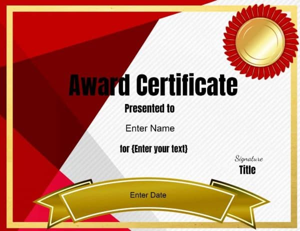 Certificate templates for Award certificate template powerpoint