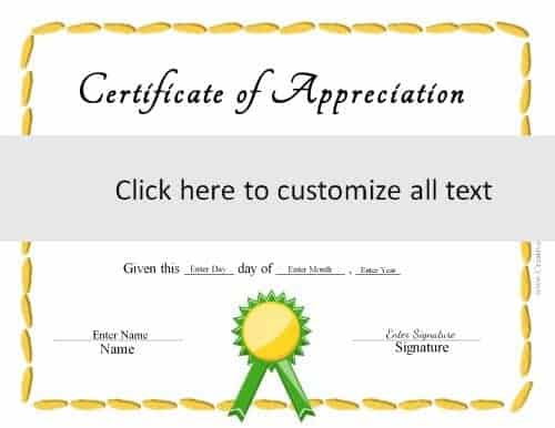 Certificate templates generic certificate with a yellow border and a green ribbon yelopaper Image collections