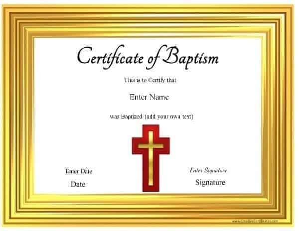 Free customized baptism certificate church printable yadclub Gallery