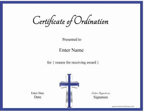 Free Printable Ordination Certificate Template Customizable - Ordination certificate template free