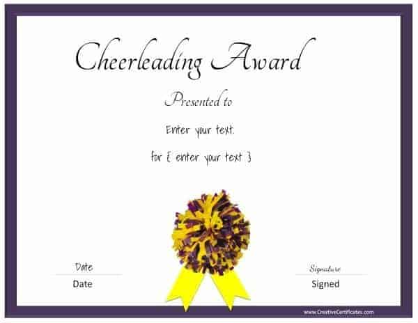 Free editable cheerleading certificates customizable instant cheerleading certificate in purple and yellow yadclub Images