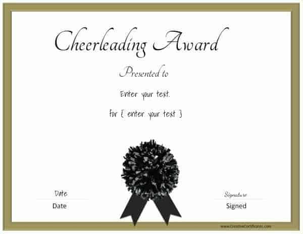 Free editable cheerleading certificates customizable instant cheerleading certificates with a gold border and a black pom pom yadclub Images