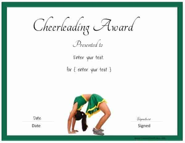 Free editable cheerleading certificates customizable instant cheerleading certificate with a picture of a cheerleader yadclub Images