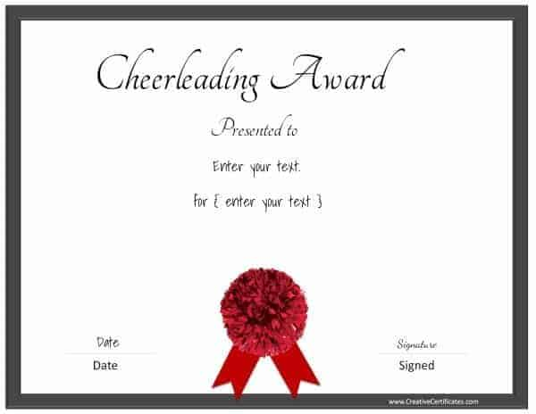 Black and red cheerleading certificate (black border and a red pom pom)