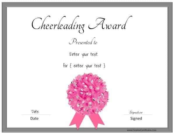 Free cheerleading certificates customizable pink cheerleading certificate with a grey border and a pink pom pom yelopaper Image collections