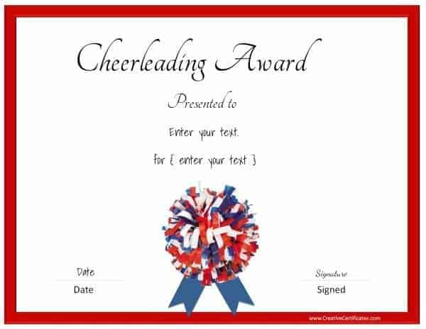 Free cheerleading certificates customizable cheerleading certificate in red blue and white yelopaper Image collections