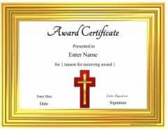 Christian Award Certificates