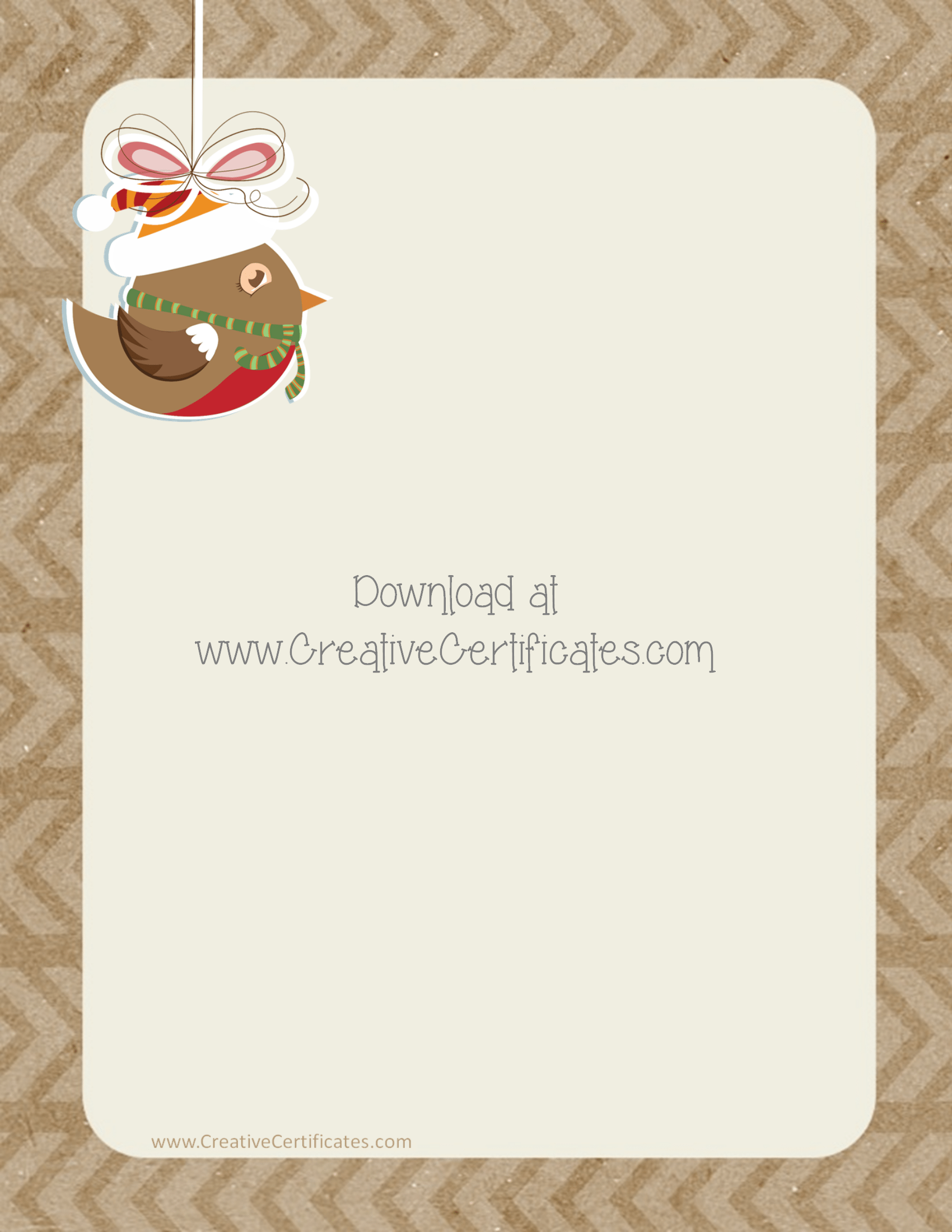 Free christmas border templates customize online then download background in shades of brown with a festive bird spiritdancerdesigns Gallery