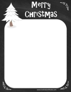 Chalkboard border with a Christmas tree